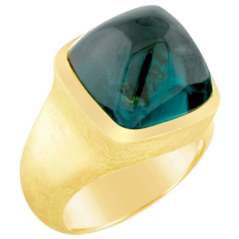 16.87 Carat Green Tourmaline Gold Ring For Sale