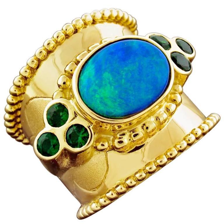 Paula Crevoshay Black Opal Chrome Tourmaline Gold Ring 1