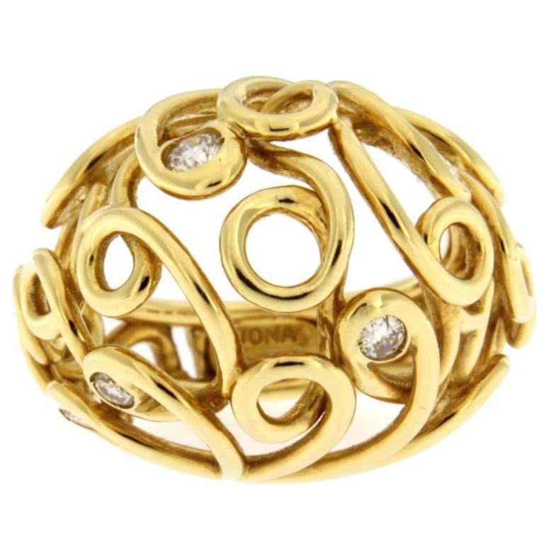 Jona White Diamond 18 Karat Yellow Gold Twisted Dome Ring