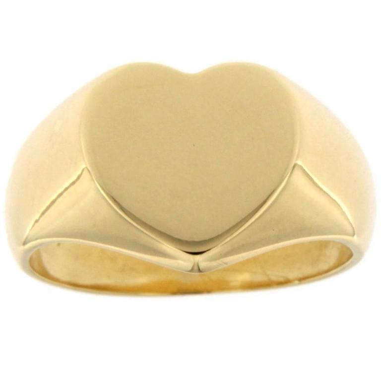 Jona Gold Heart Signet Ring For Sale