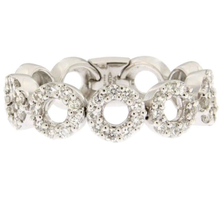 Jona White Diamond White Gold Flexible Band Ring
