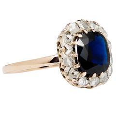 Antique 2.85 Carat Sapphire Rose Cut Diamond Gold Engagement Ring