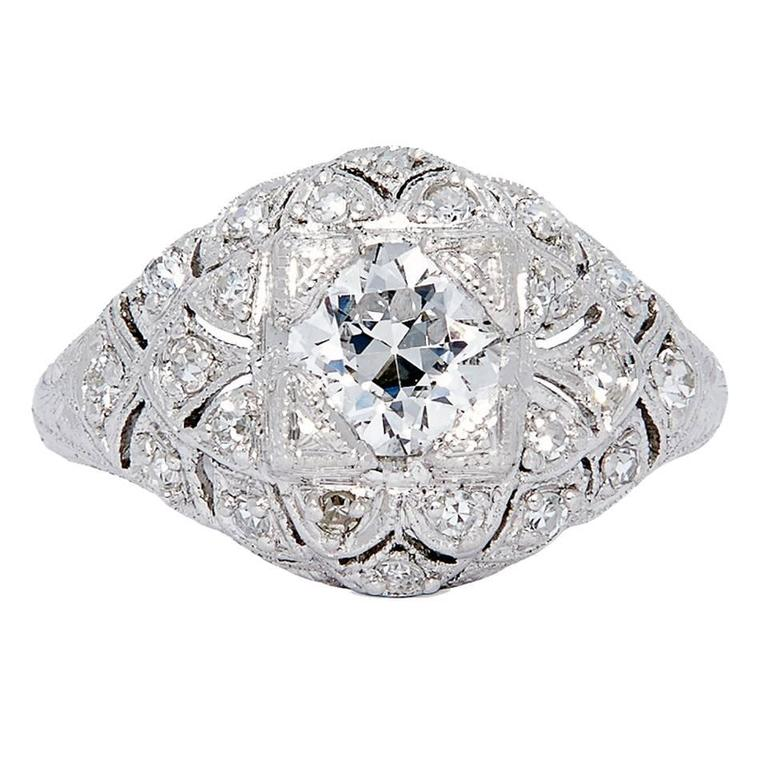 Spectacular Edwardian GIA Certified Diamond Platinum Engagement Ring 1