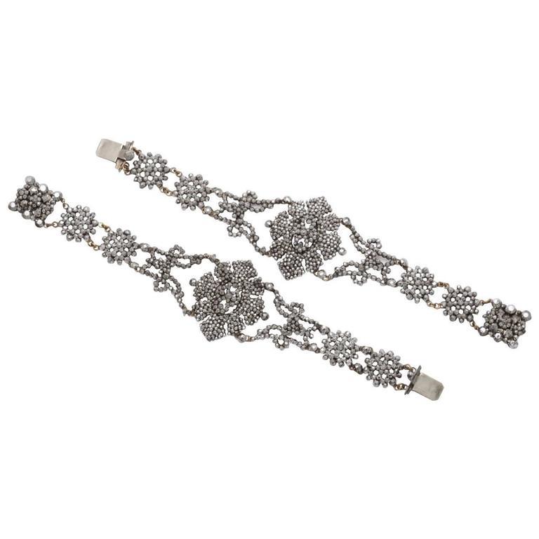 A Pair Of Handmade Georgian Cut Steel Bracelets