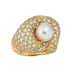 Jose Hess Cultured Pearl, Diamond and Gold Ring