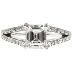 Peter Suchy Asscher Cut Diamond Split Shank Platinum Engagement Ring
