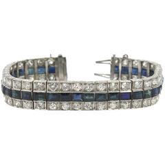 Art Deco Three-Row Natural Sapphire Diamond Platinum Line Bracelet