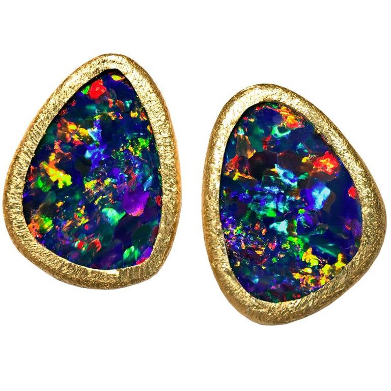 Devta Doolan Vibrant Red Fire Blue Violet Opal Doublet Gold Stud Earrings For Sale