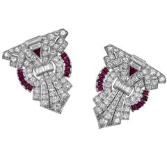 Art Deco Ruby Diamond Platinum Dress Clips