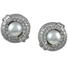 Cultured Pearl Diamond Platinum Button Earclips