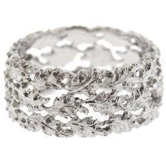 Buccellati Gold Leaf Motif Wide Wedding Band Ring