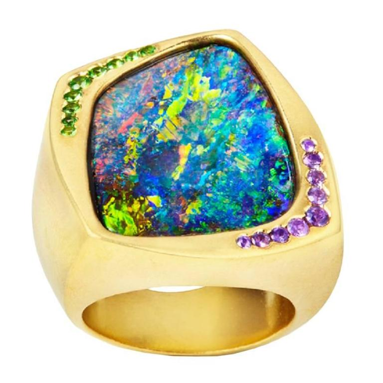 opal ring sapphire ladies style size gold yellow sku shop vintage