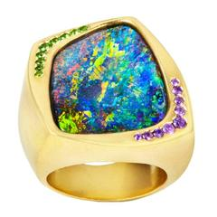 Bold and Contemporary Boulder Opal Sapphire Gold Ring