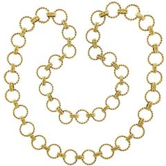 Verdura Gold Circle Rope Link Long Necklace