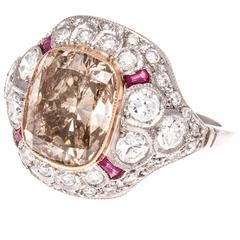 5.16 Carat Brownish Yellow Cushion Cut Diamond Ruby Platinum Ring