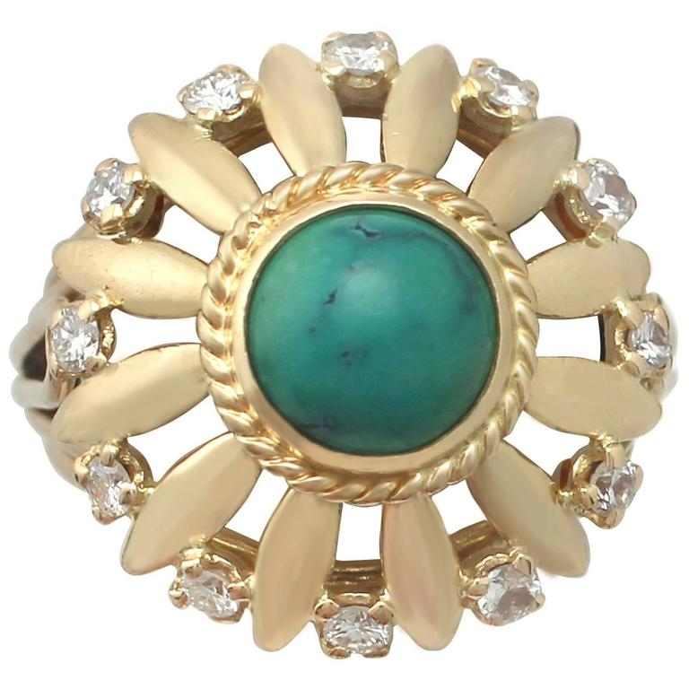 1950s Turquoise and Diamond Yellow Gold Cocktail Ring For Sale
