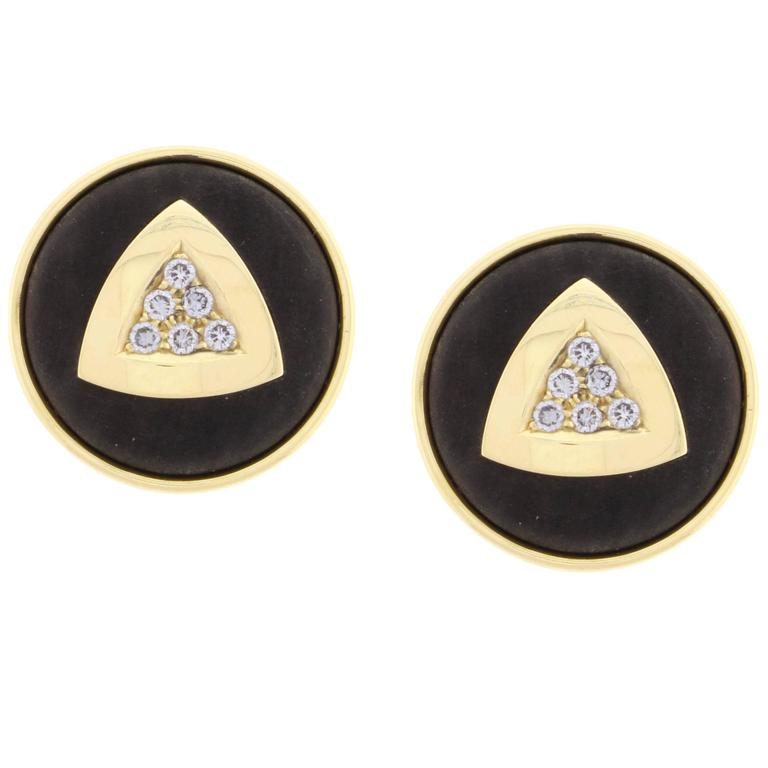 Leo De Vroomen Ebony Diamond Gold Earrings