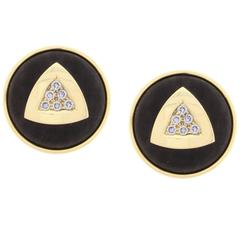 Leo De Vroomen Ebony Diamond Gold Earrings