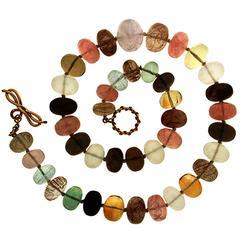Multi Color Quartz Roundels Necklace
