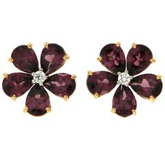 Pear Shape Rhodolite Garnet Diamond Gold Earrings