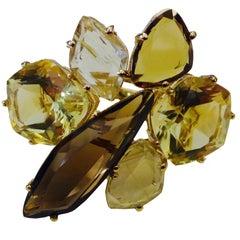 Michael Kneebone Smokey Quartz Lemon Citrine Rutilated Quartz Gold Cluster Ring