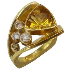 Golden Beryl Cognac Diamond White Diamond Flared Shank Cluster Ring