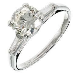 Late Art Deco Diamond Three-Stone Platinum Engagement Ring