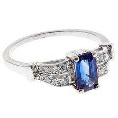 Art Deco Cornflower Blue Sapphire Diamond Platinum Gold Engagement Ring