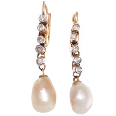 Victorian Natural Pearl Diamond Gold Earrings