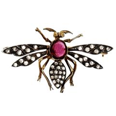 Garnet Diamond Silver Gold Wasp Pin