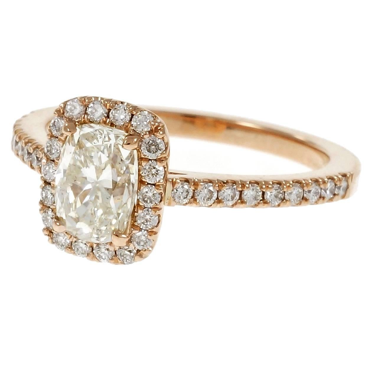 Peter Suchy .90 Carat Cushion Cut Diamond Halo Rose Gold Engagement Ring
