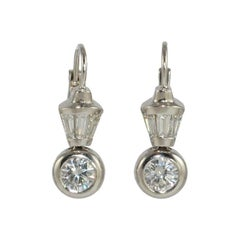 Diamond Platinum Wire Drop Earrings