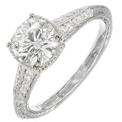 Peter Suchy Ideal Cut Diamond Solitaire Gold Engagement Ring