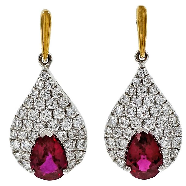 Pear Red Ruby Diamond Gold Dangle Earrings