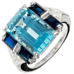Aqua Sapphire Diamond Gold Cocktail Ring