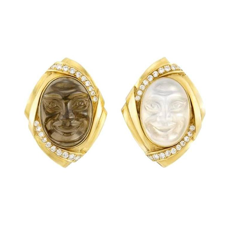 Hammerman Brothers Quartz Moonstone Diamond Ear clips