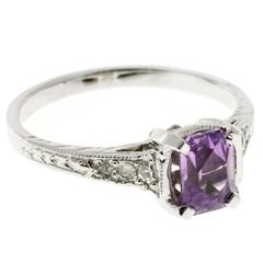 Art Deco Pink Purple Sapphire Diamond Platinum Engagement Ring