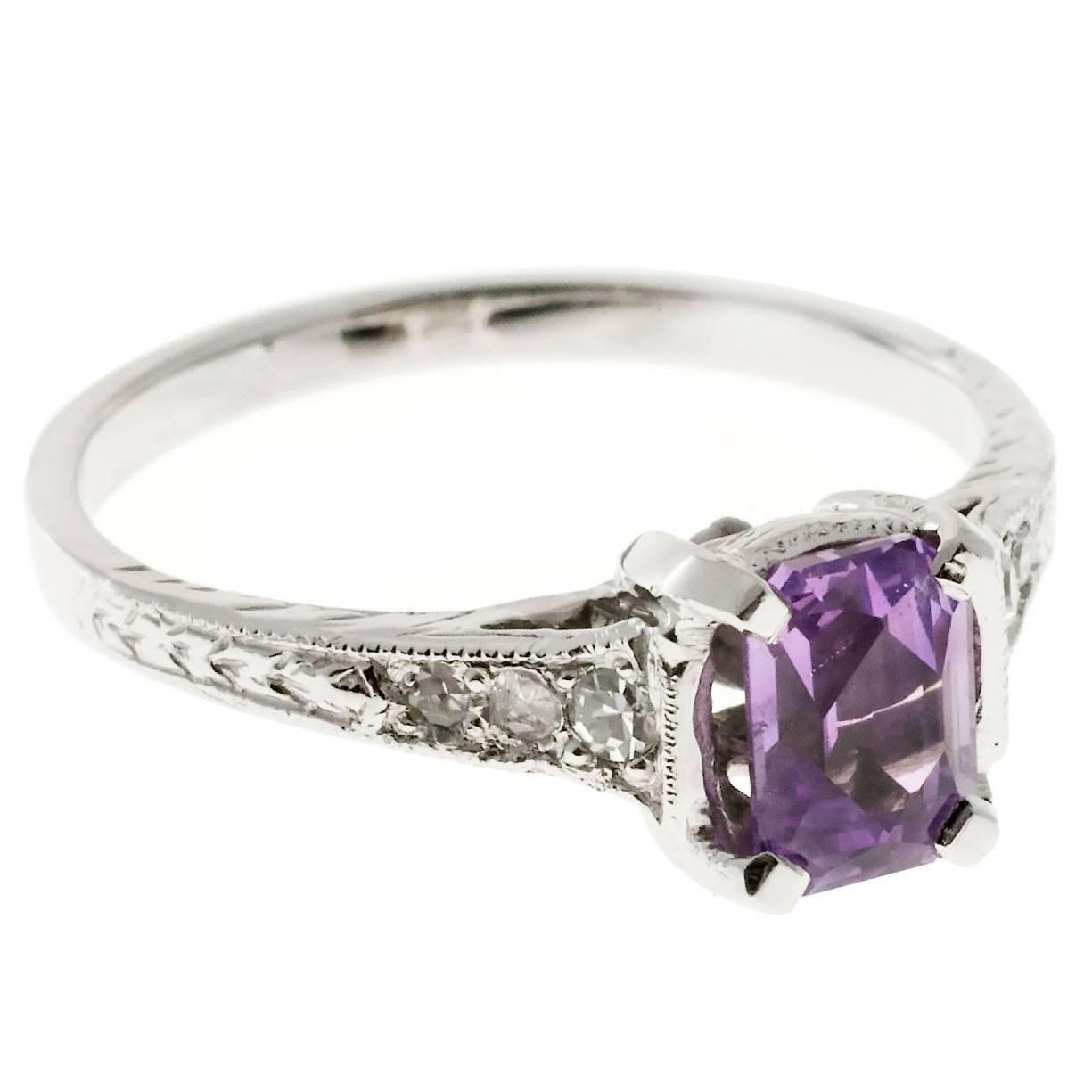 amethyst a purple stone knot makes center custommade ring unique trinity royal delicate this rings in engagement for com