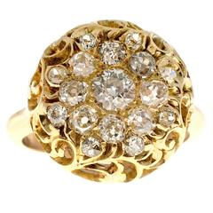 Diamond Open Work Dome Gold Cocktail Ring