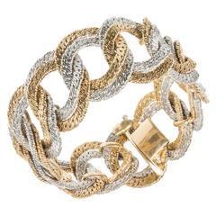 Mid-Century Gold Textured Heavy Link Gold Bracelet