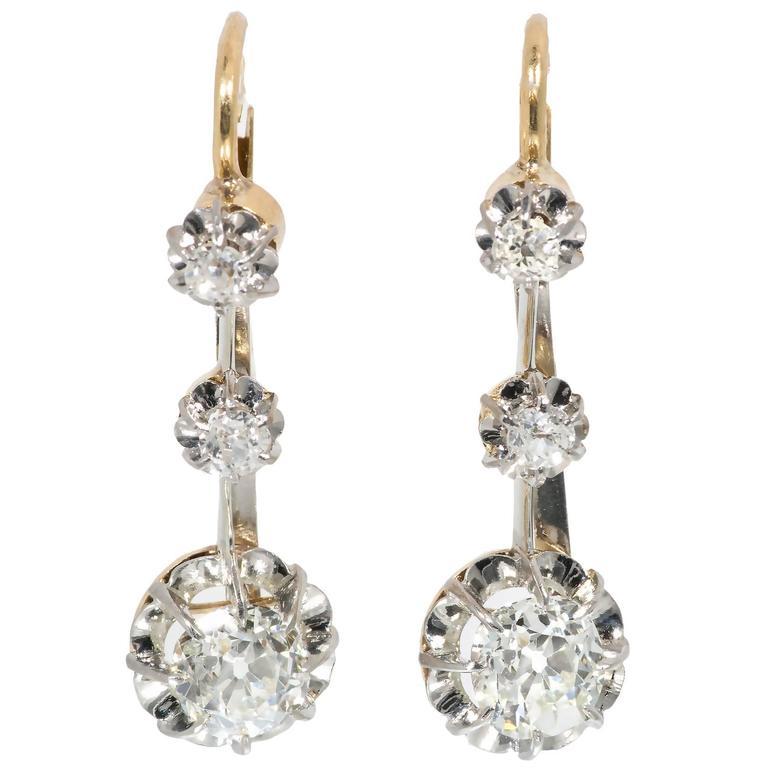 Victorian Old Mine Diamond Platinum Gold Dangle Earrings