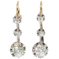 Victorian Old Mine Diamond Platinum Gold Dangle Earrings