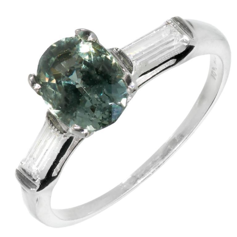 Natural Green Sapphire Diamond Three-Stone Platinum Engagement Ring For Sale