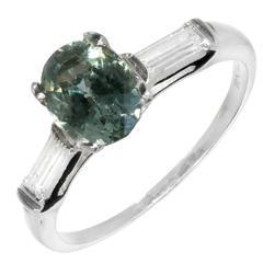 Natural Green Sapphire Diamond Three-Stone Platinum Engagement Ring