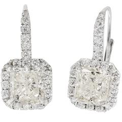 Peter Suchy Radiant Cut Diamond Halo White Gold Dangle Earrings
