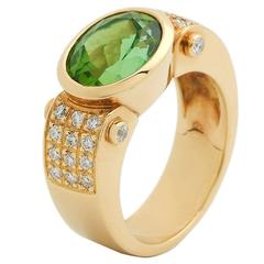 Green Tourmaline Diamonds Gold Ring