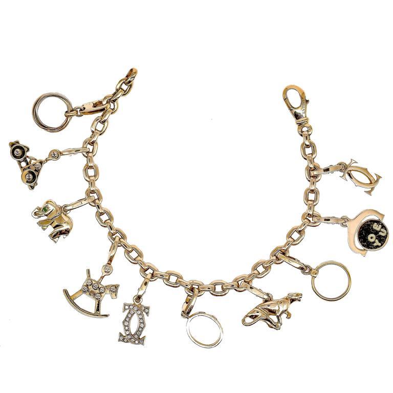 Cartier Ten-Charm Gold Bracelet For Sale