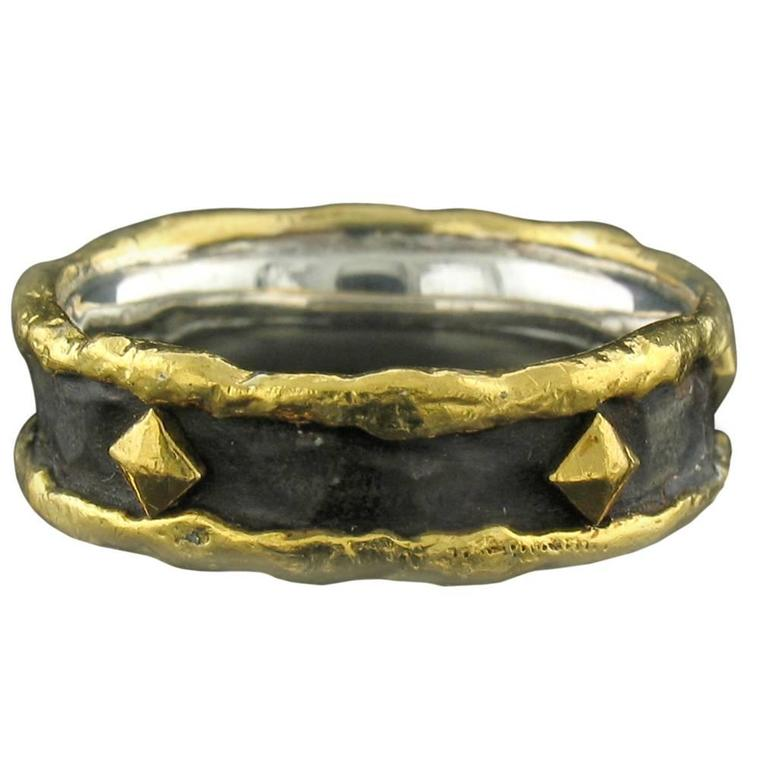 Gold and Silver Band with Nails in Brown Patina