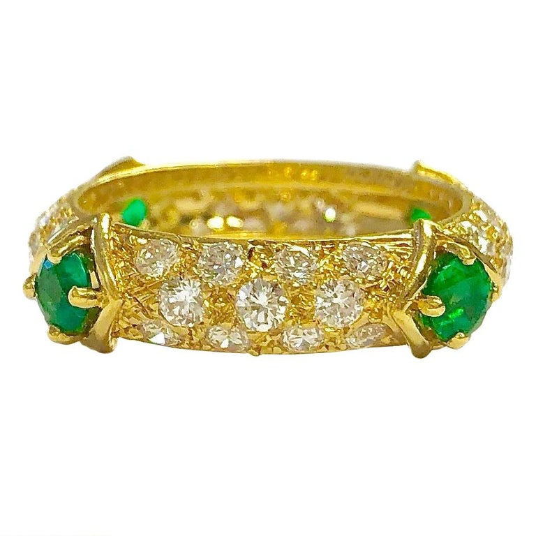 Mauboussin Diamond and Emerald Yellow Gold Eternity Band For Sale