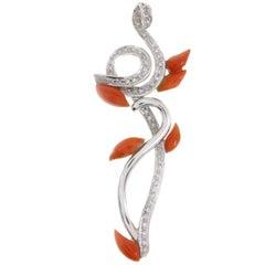 Red Coral Drops, White Diamonds,14K White Gold Fashion Design Pendant Necklace